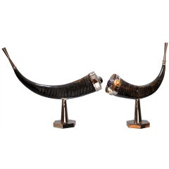 Anthony Redmile: Pair of Embellished and Mounted Horns