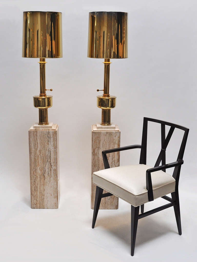 Mid Century Modern Pair Of Stiffel Lamps On Travertine Bases For