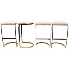 Set of Four Brass Barstools