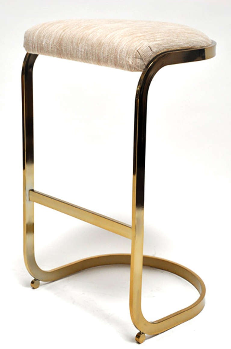 Set Of Four Brass Barstools At 1stdibs