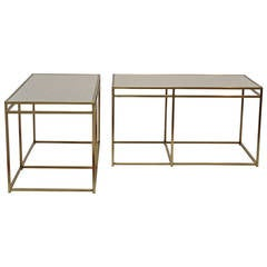 Paul Laszlo-Pair of Brass and Terrazzo Tables