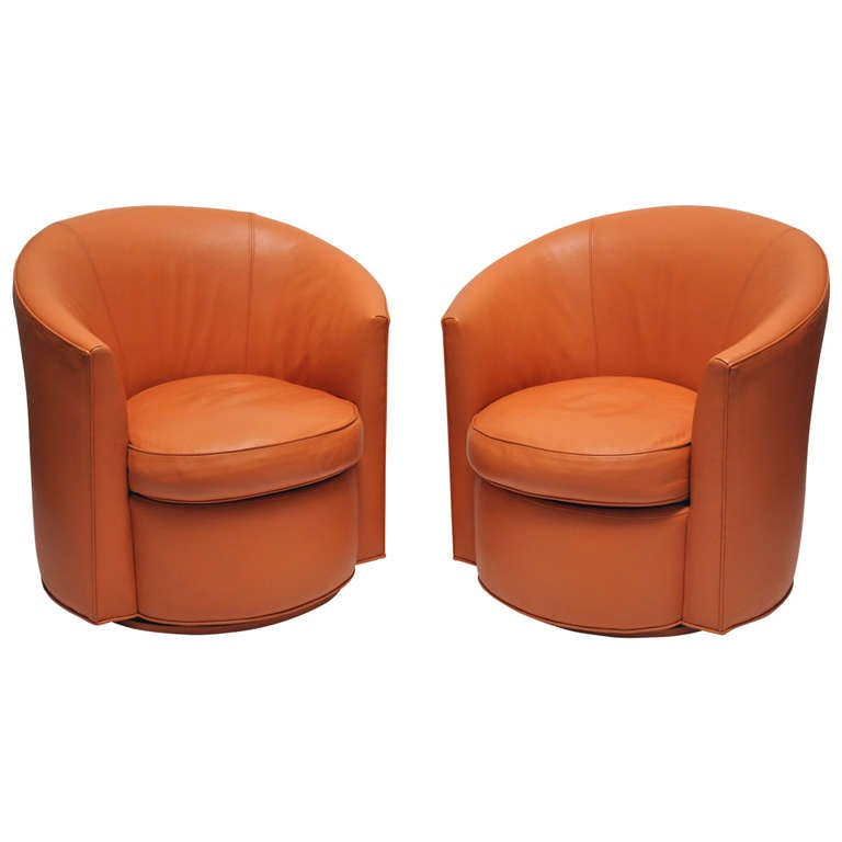 Pair Of Swivel   Leather Club Chairs 1