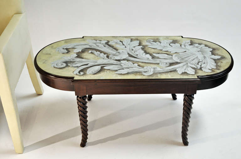 Grosfeld House Coffee Table with Eglomise Glass Top In Excellent Condition For Sale In Los Angeles, CA