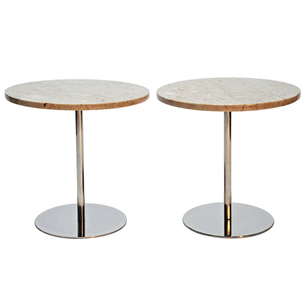 Nico Zographos Marble and  Steel Side Tables For Sale