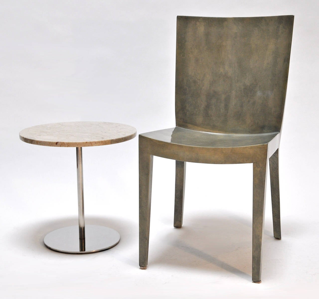 Mid-Century Modern Nico Zographos Marble and  Steel Side Tables For Sale