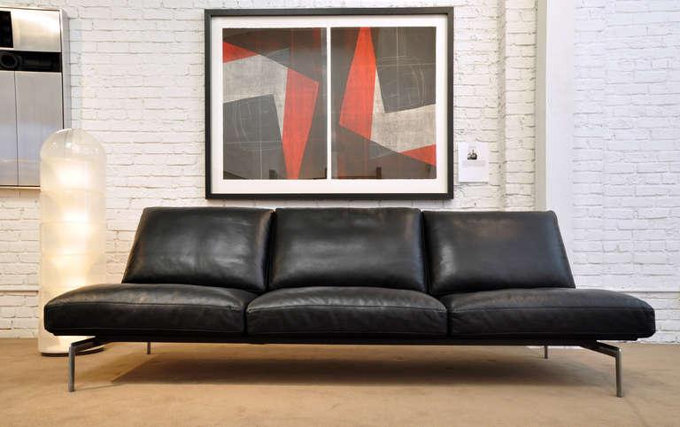 b b italia diesis leather and steel sofa at 1stdibs. Black Bedroom Furniture Sets. Home Design Ideas