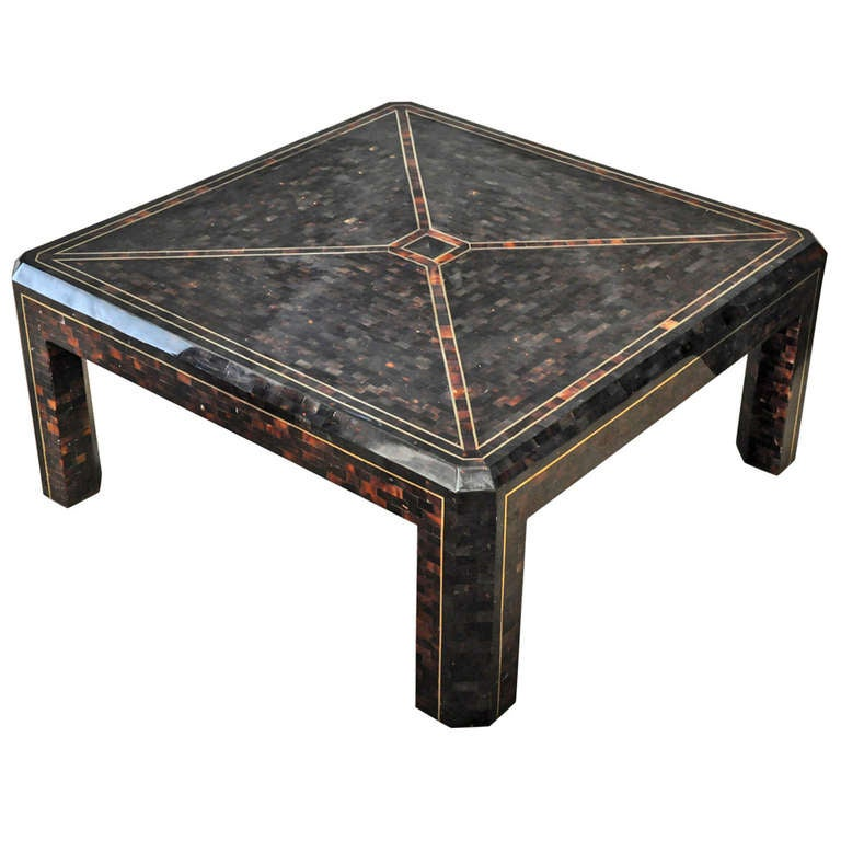 Maitland Smith Coffee Table Tessellated Horn And Brass At 1stdibs