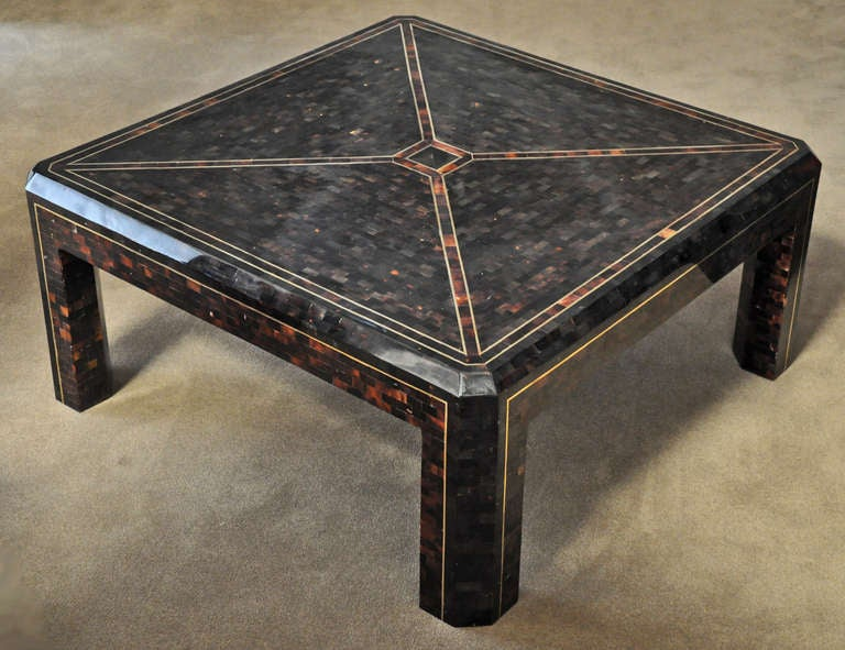 MaitlandSmith Coffee Table Tessellated Horn and Brass at 1stdibs