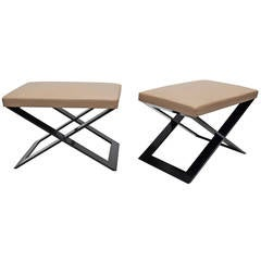Pair Of Leather And Steel Benches By Cassina 1