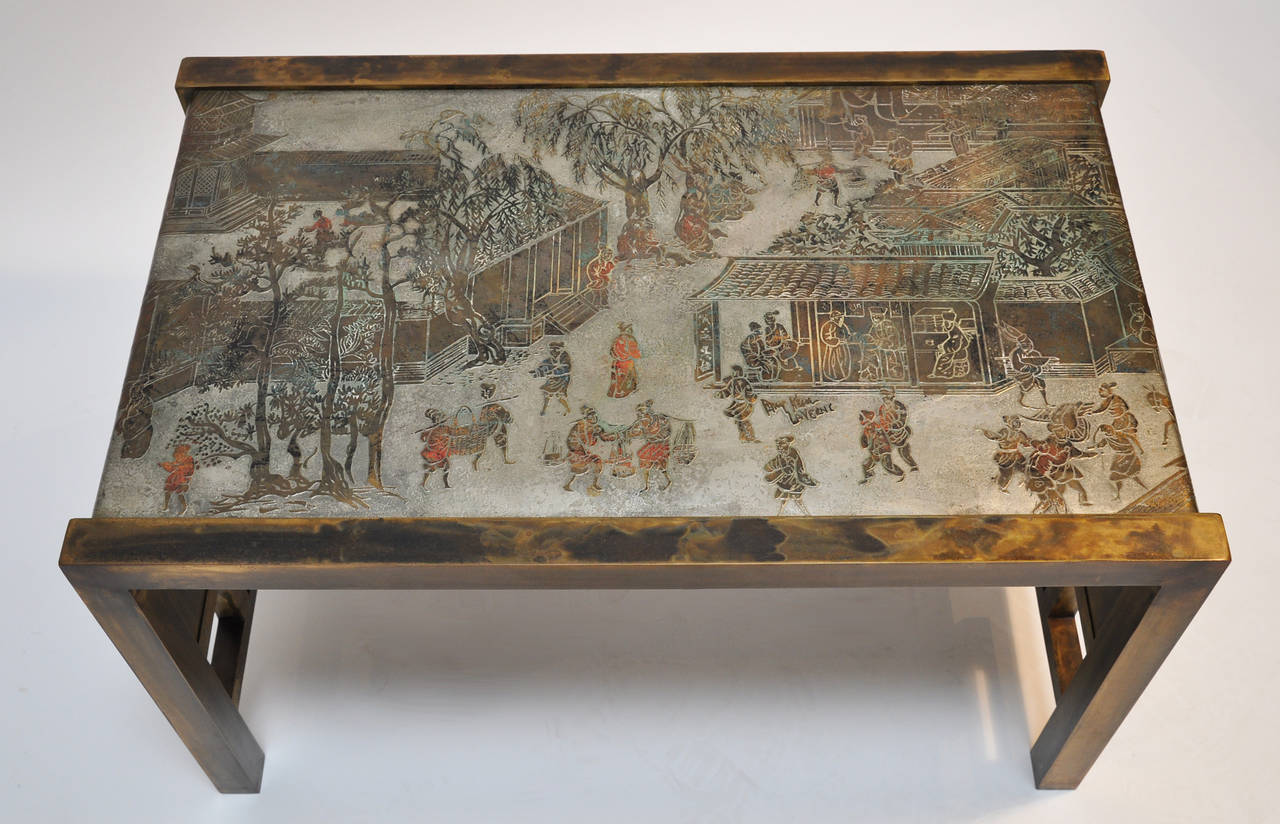 "Signed Philip and Kelvin LaVerne Bronze ""Festival"" Table 2"