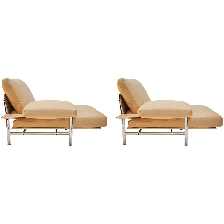 Pair Of B B Italia Leather And Aluminum Lounge Chairs At