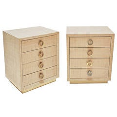 Pair of Small Grasscloth Clad Dressers or Night Stands with Brass Pulls