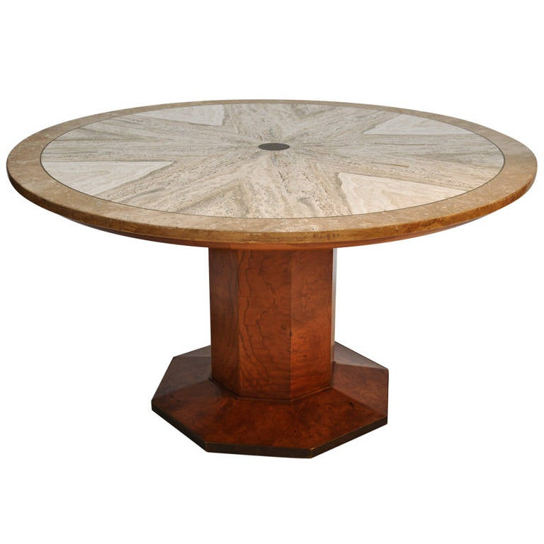 1960s Travertine and Burl Wood Game Table by John  : 1341866l from www.1stdibs.com size 768 x 768 jpeg 40kB