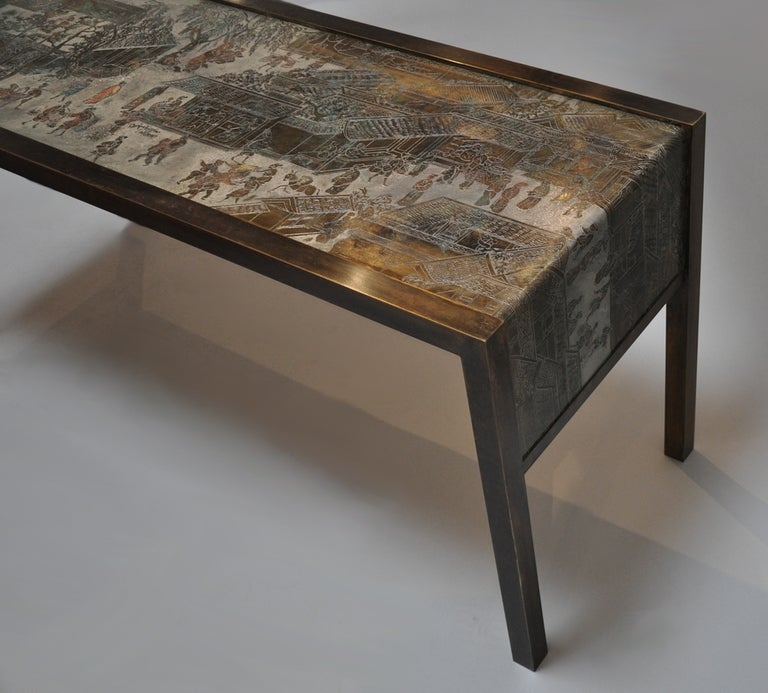 American Philip and Kelvin LaVerne Signed Bronze Console Table For Sale