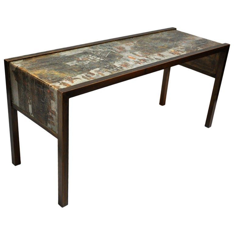 Charming Philip And Kelvin LaVerne Signed Bronze Console Table 1