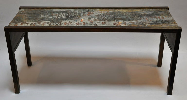 Signed console table by Philip and Kelvin LaVerne. Bronze with pewter overlay. This is a fine example of the work of New York artisans Philip and Kelvin LaVerne. This is ready for use.