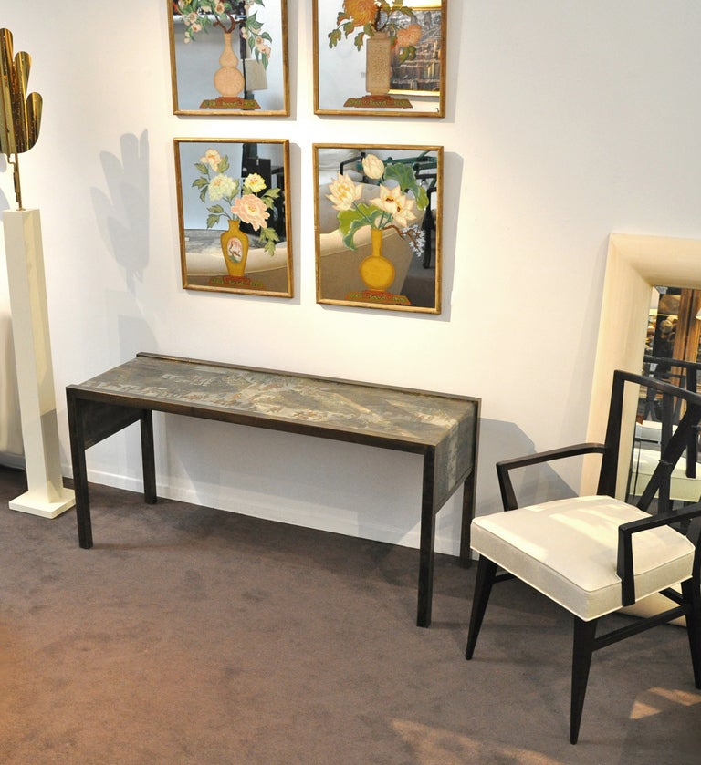 Mid-Century Modern Philip and Kelvin LaVerne Signed Bronze Console Table For Sale