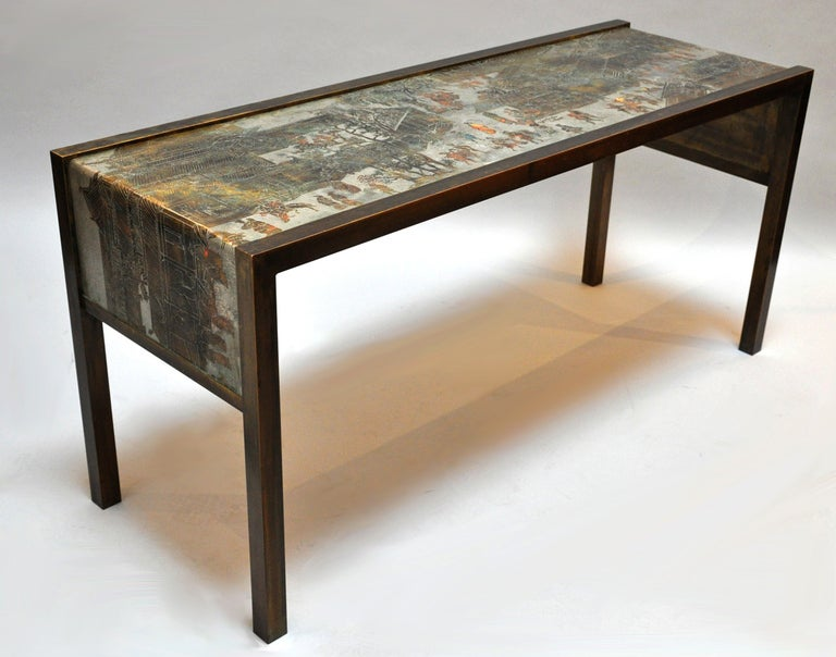 Late 20th Century Philip and Kelvin LaVerne Signed Bronze Console Table For Sale
