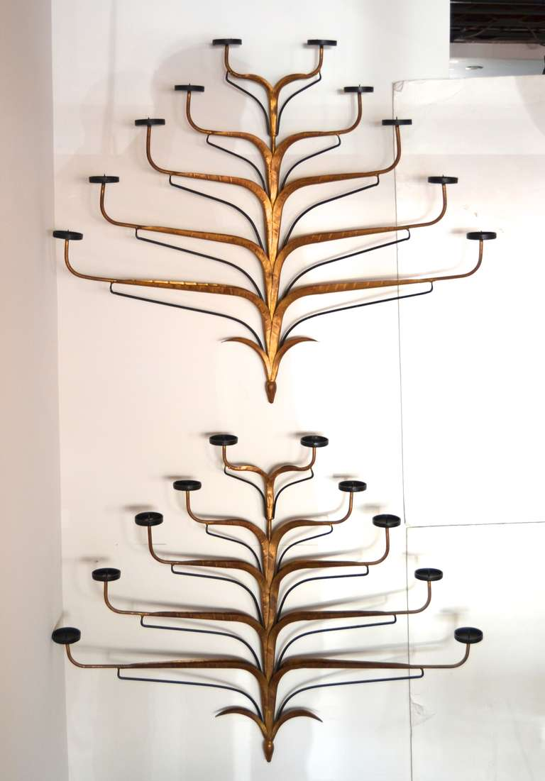 Italian Gilt Iron Candle Wall Sconces For Sale at 1stdibs