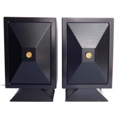 James Mont Faceted Front Ebonized Side Cabinets