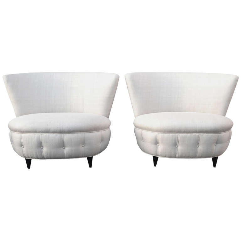 Gilbert Rohde 1940s Tufted Silk Lounge Chairs
