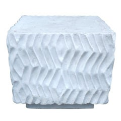 John Dickinson Like Sculptural White Plaster Cube Table