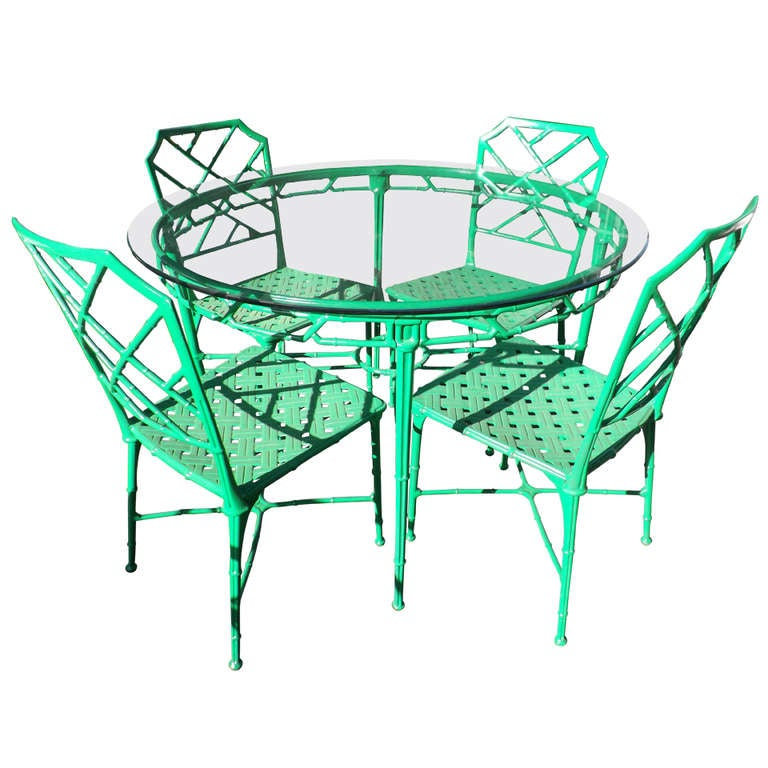Kelly Green Faux Bamboo Outdoor Dining Suite At 1stdibs