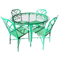 Kelly Green Faux Bamboo Outdoor Dining Suite