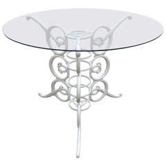 Chic White Hollywood Regency Center Table