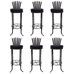 French Fer Forge Barstools-Set of 6