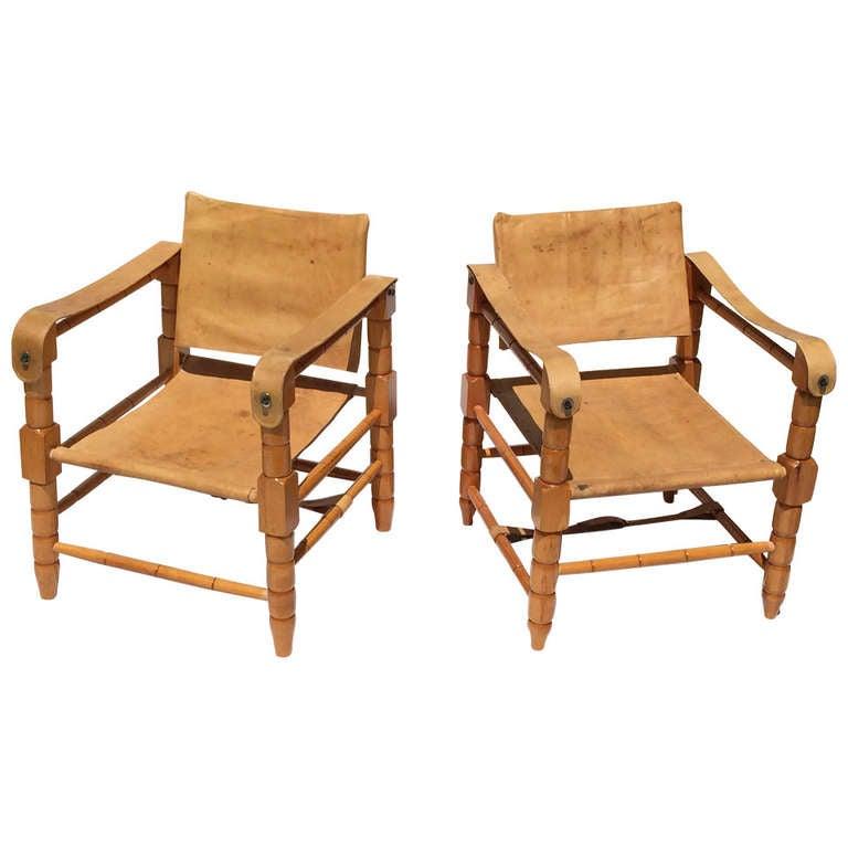 "Kaare Klint ""Safari"" Chairs in Leather at 1stdibs"