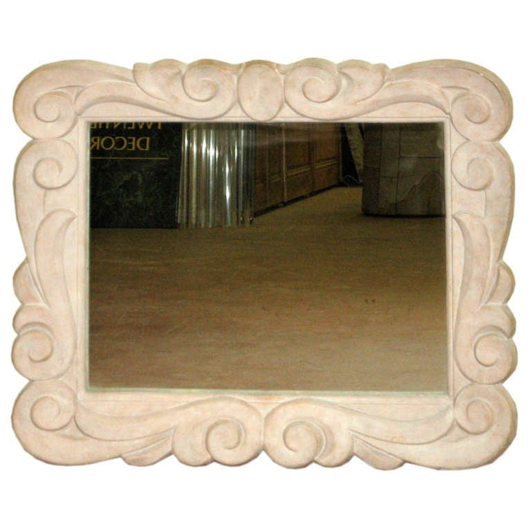 French 1940s Serge Roche Style Plaster Wall Mirror