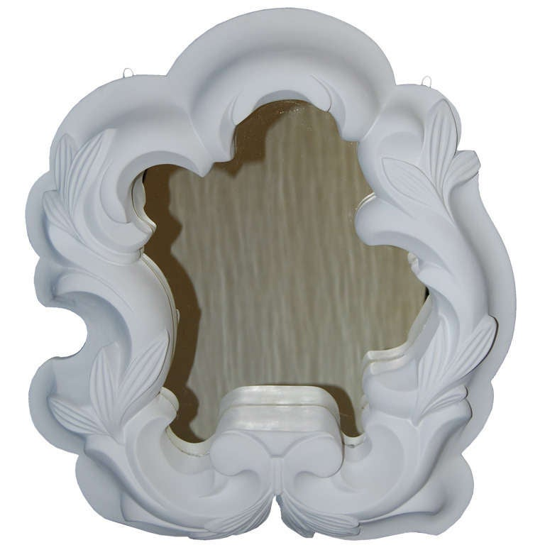 Serge Roche Style French 1940s Plaster Mirror