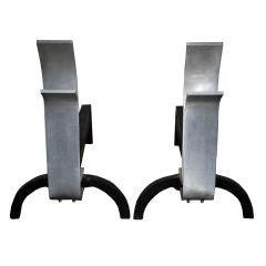 Eliel Saarinen Rare Pair of Aluminum Andirons