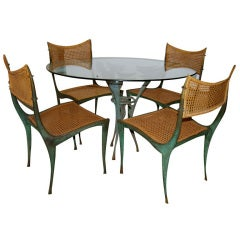 "Dan Johnson Bronze ""Satyr"" Table and Four ""Gazelle"" Chairs"