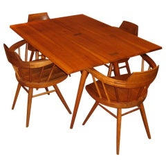 George Nakashima Cherry Dining Table and 4 Windsor Armchairs