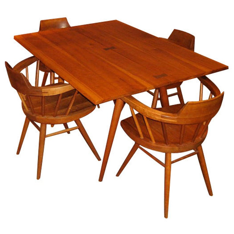 George Nakashima Cherry Dining Table and Four Windsor Armchairs ...