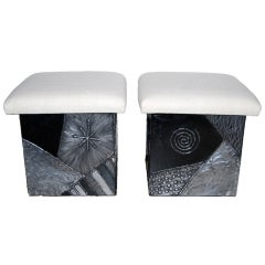 """Rare Paul Evans """"Argente"""" Stools with Silk Tops"""