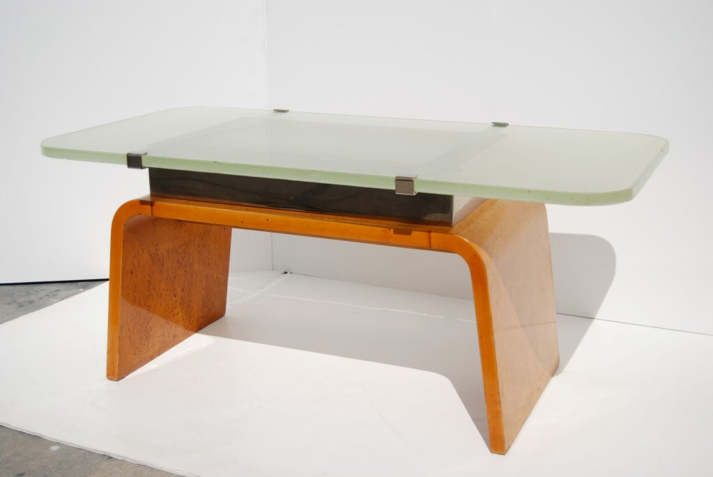 French Art Deco Burl Coffee Table With Glass Top For Sale At 1stdibs