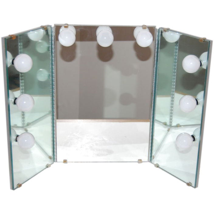 shadows out tri fold lighted vanity mirror at 1stdibs. Black Bedroom Furniture Sets. Home Design Ideas