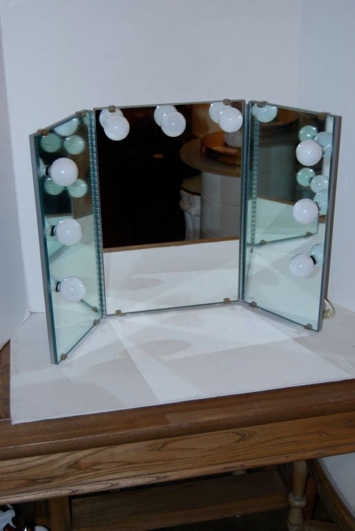 shadows out tri fold lighted vanity mirror at 1stdibs