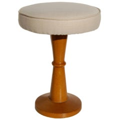 Jean Royère Oak Stool with Silk Top