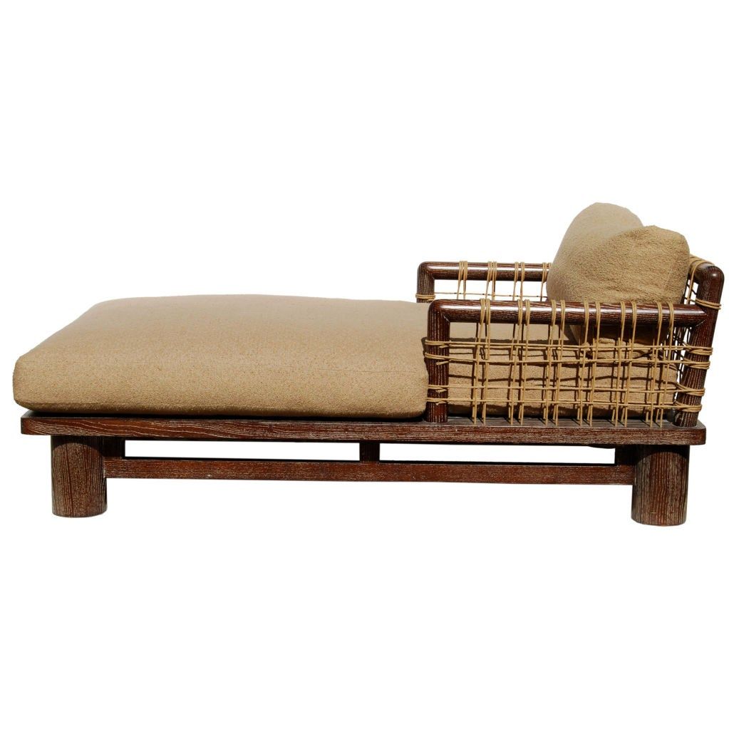 Karl springer dowelwood oversized cerused chaise longue for Aalto chaise lounge