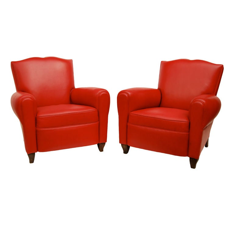 french red leather club chairs for sale at 1stdibs. Black Bedroom Furniture Sets. Home Design Ideas