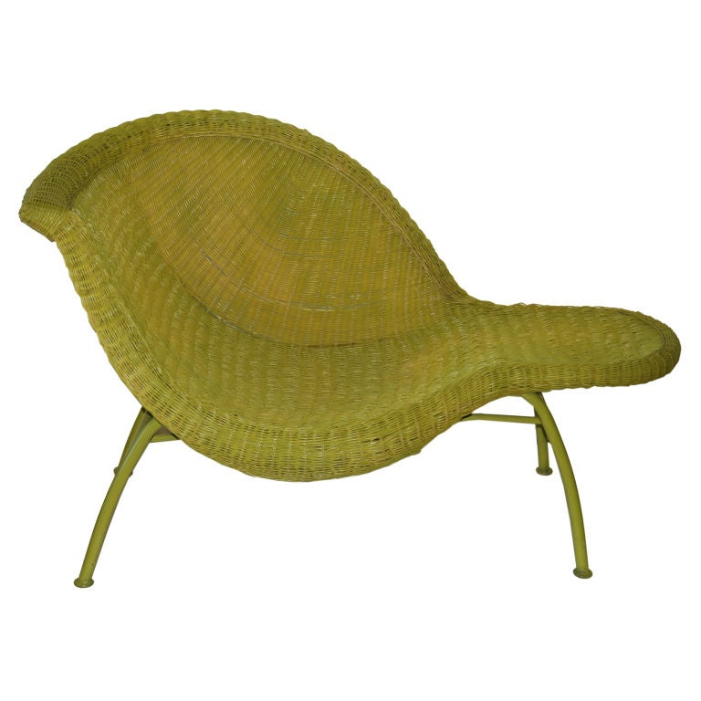 Fan tastic wicker chaise longue in green wicker at 1stdibs - Chaise longue montreal ...