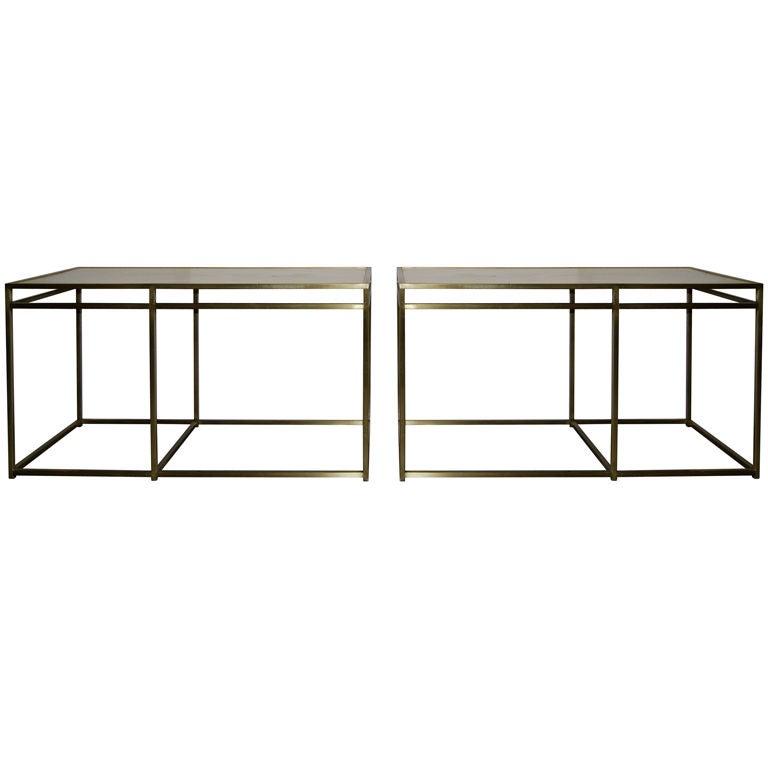 Paul Laszlo Custom Brass Tables with Terrazzo Tops