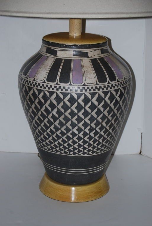 American Samuel Marx Massive Indian Pottery Lamp For Sale