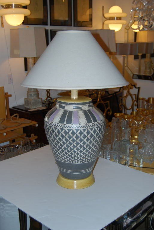Mid-20th Century Samuel Marx Massive Indian Pottery Lamp For Sale