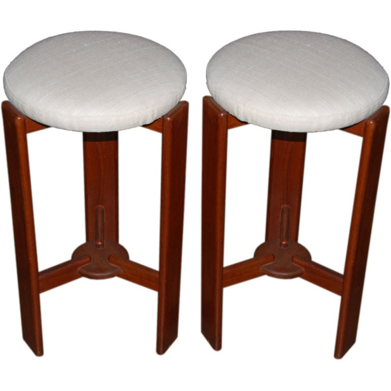 Pair Of Scandinavian Teak Bar Stools With Silk Seats At