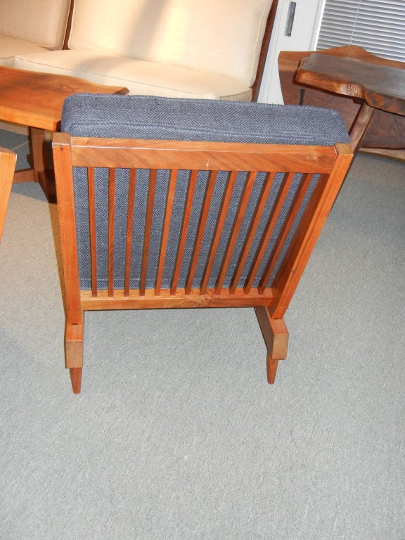 American George Nakashima Spindle Back Chairs in Charcoal Silk
